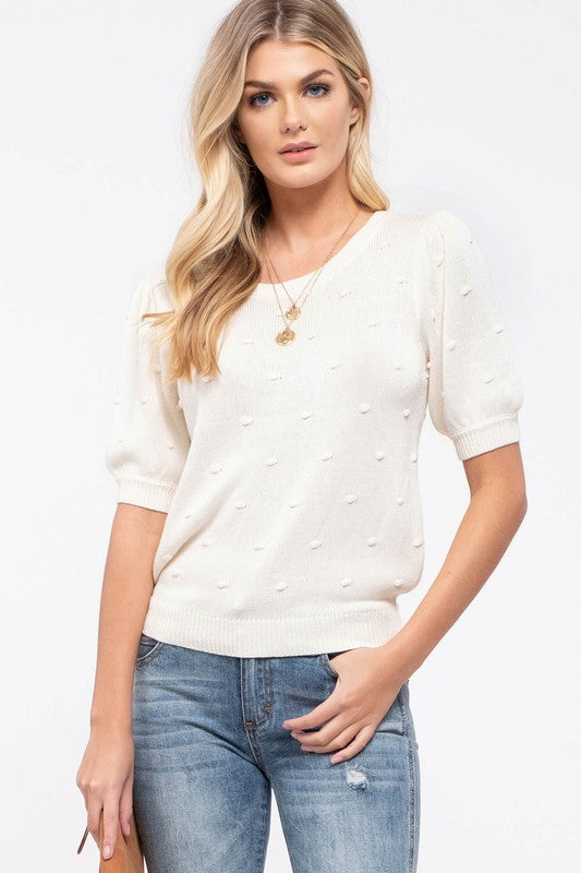 Olivia Swiss Dot Spring Sweater in Ivory