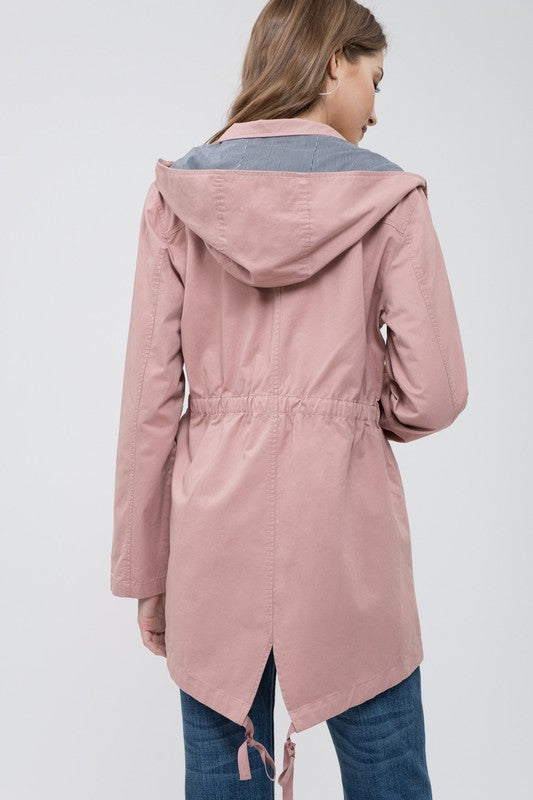 Marcia Anorak Hoodie Jacket in Dusty Rose
