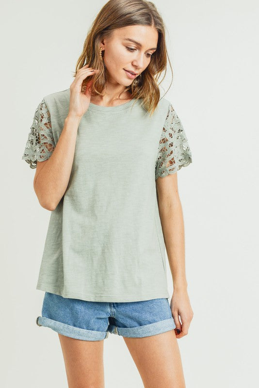 Tyra Battenburg Lace Sleeve Top