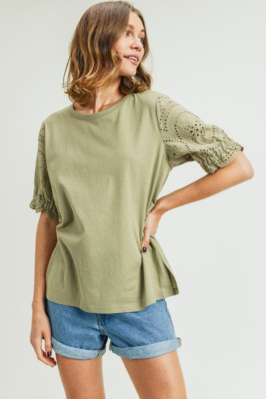 Alicia Eyelet Lace Sleeve Top