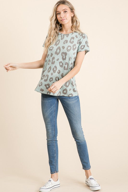 Adele Animal Print Top in Mint