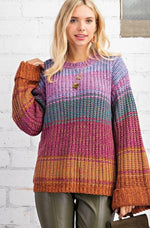 Jillian Striped Bell Sleeve Sweater