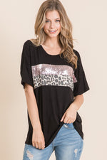 Abigail Sequin Color Block Top in Black