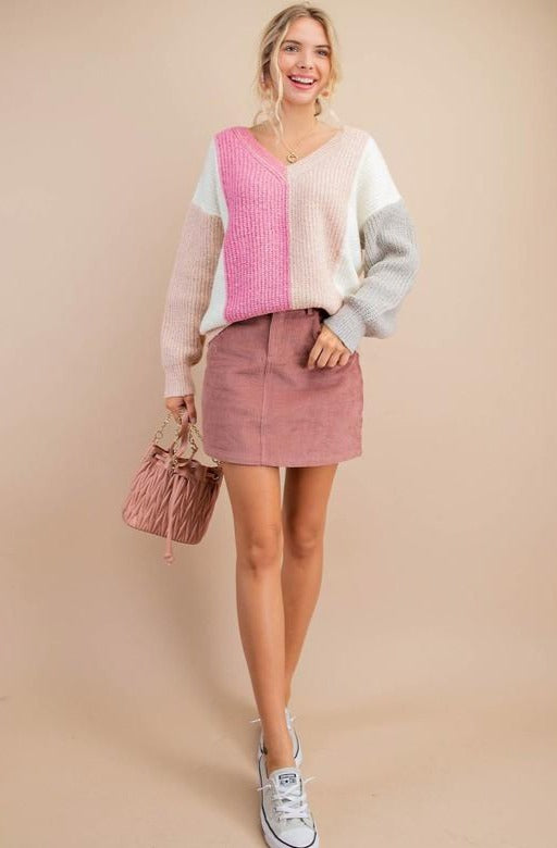 Carla Striped Sweater Mauve
