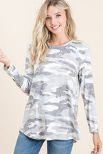 Darla French Terry Camo Top in Gray