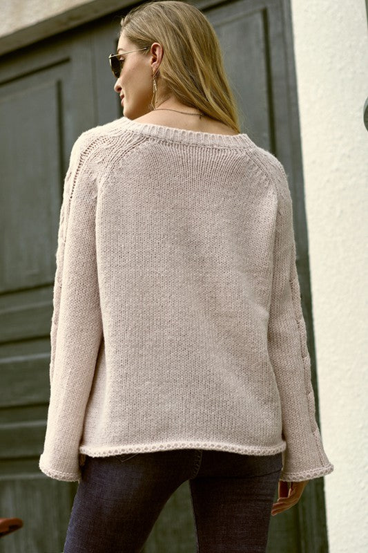 Jamie Bell Sleeve Sweater in Oyster