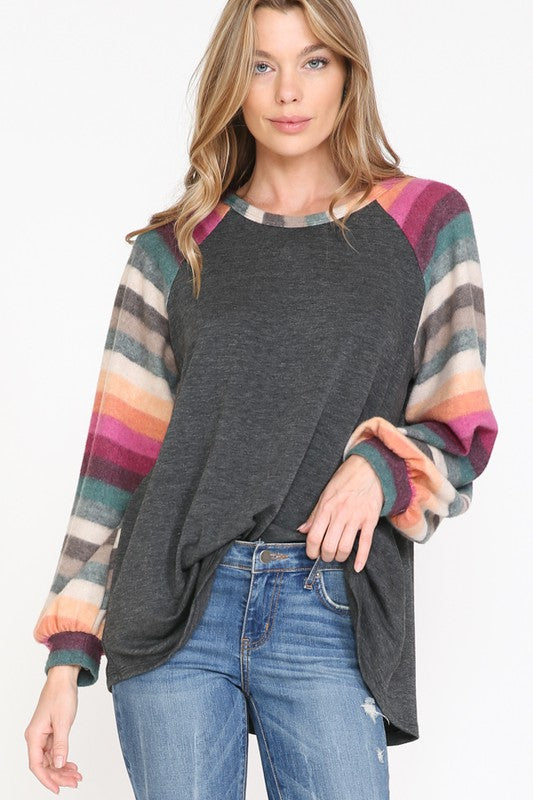 Vivian Striped Sleeve Top in Charcoal