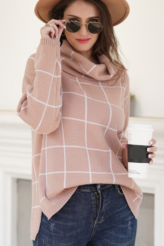 Arabella Cowl Neck Sweater in Almond