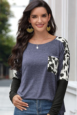 Lauren Dalmatian Print Top in Navy