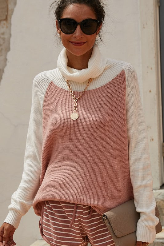 Cassy Cowl Neck Top in Blush