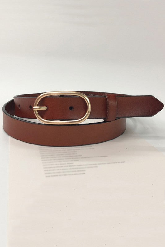 Samantha Slim Belt in Brown