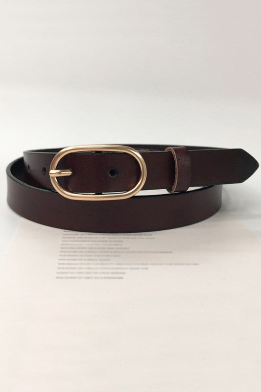 Samantha Slim Belt in Coffee