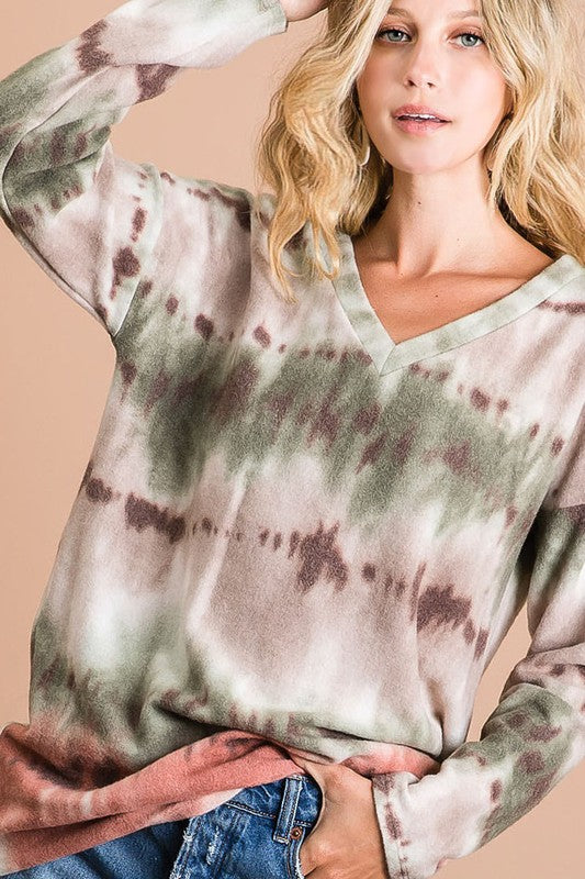 Crystal Tie Dye Top in Olive