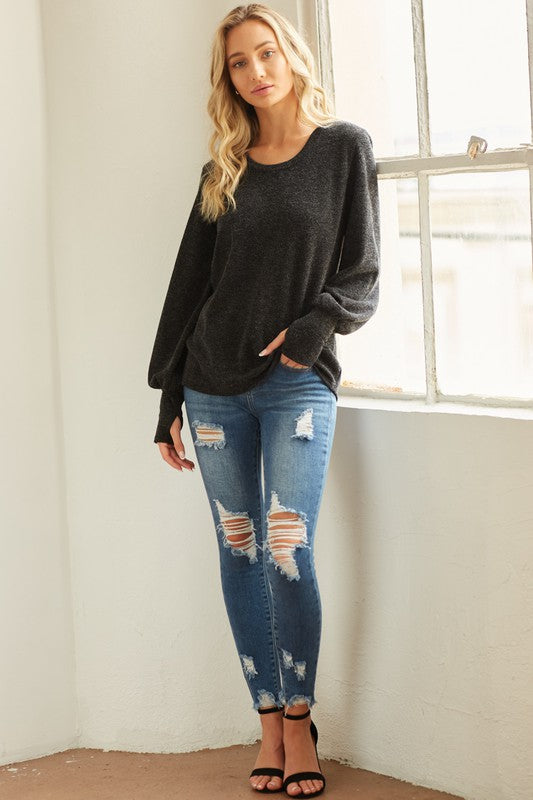 Jessica Balloon Sleeve Top in Charcoal