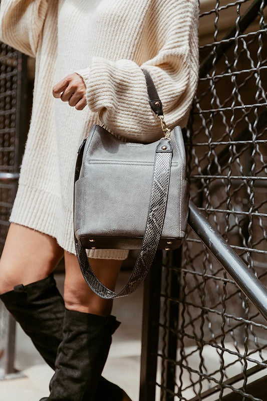 Abby Bucket Bag Safari Collection in Gray/Python