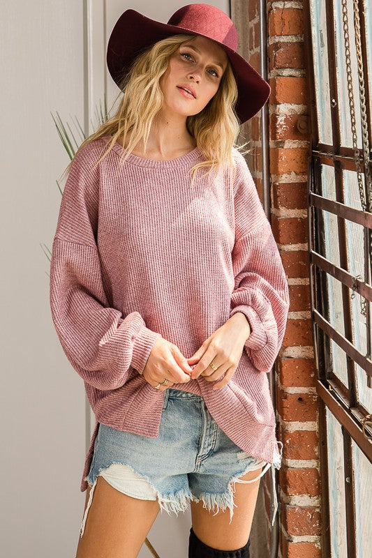 Marcia Crew Neck Top in Rose