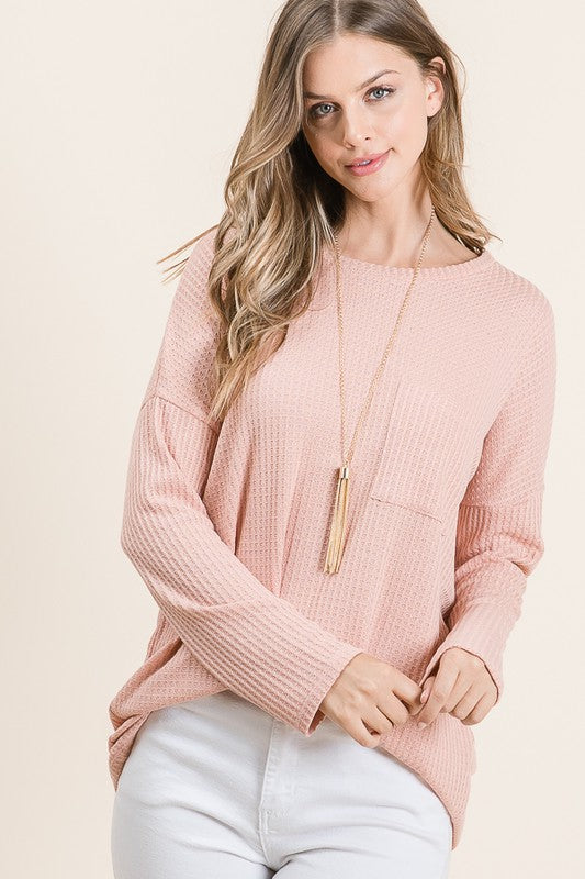 Maren Waffle Knit Top in Dusty Peach