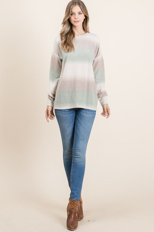 Kacee Striped Top in Dusty Olive
