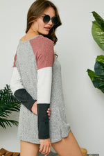 Remy Color Block Top in Gray