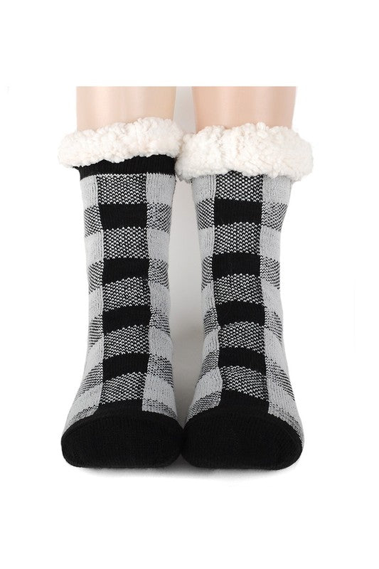 Selena Sherpa Camp Socks in Black Plaid