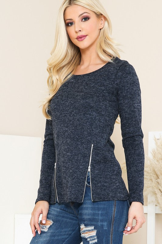 Greenlee Double Zipper Top in Navy