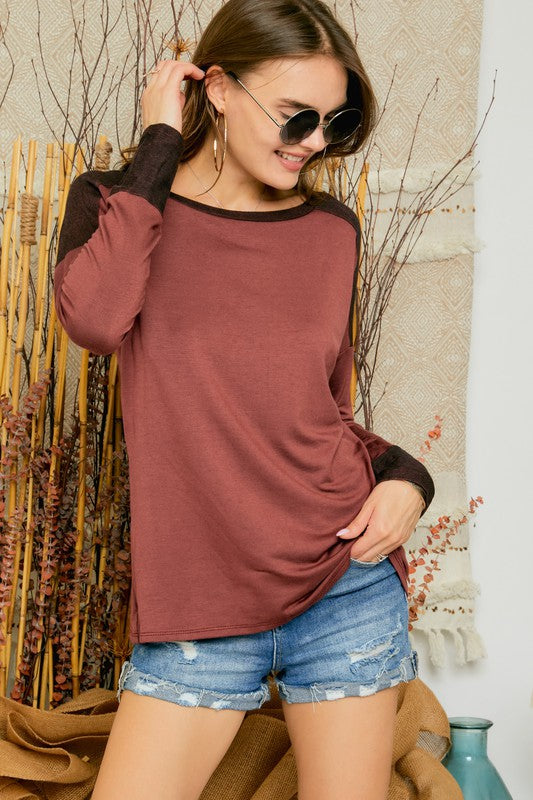 Phoebe Color Block Top in Brick