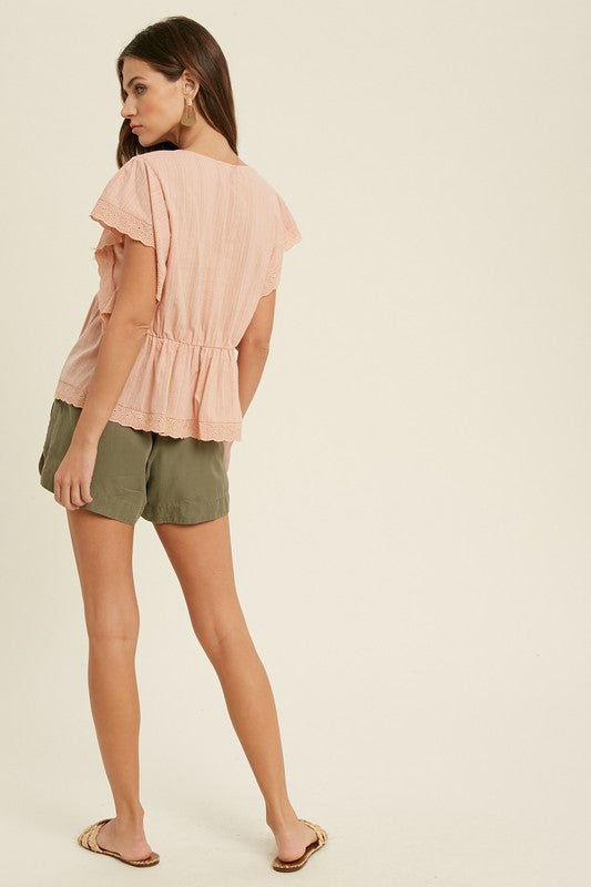 Allison Eyelet Top in Ginger