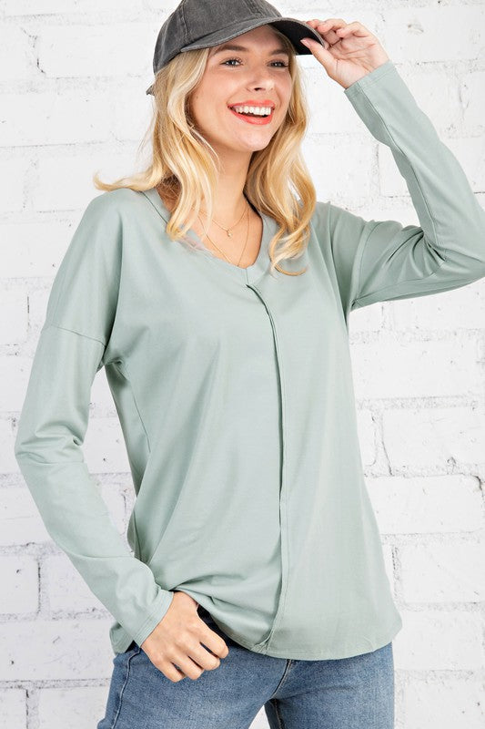 Jami Reverse Seam Top in Sage