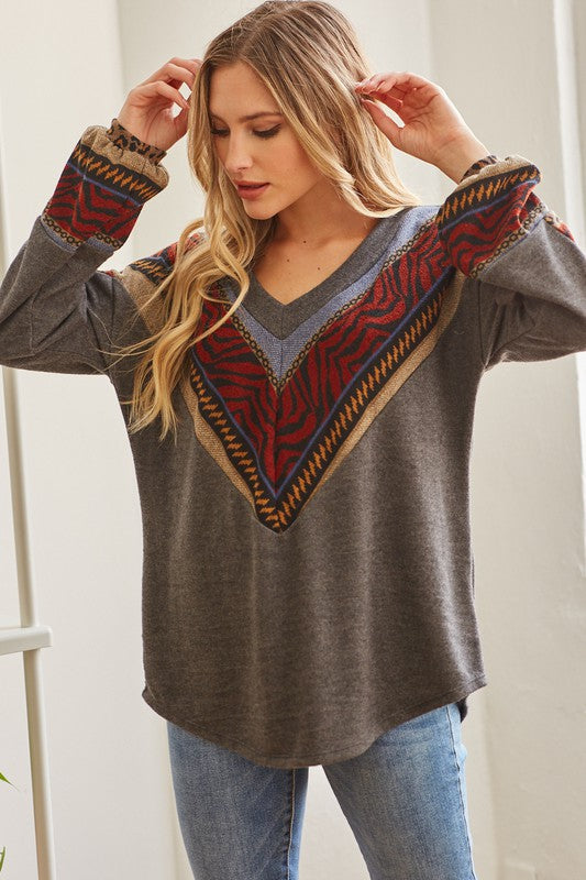 Melody Chevron Blocked Top in Charcoal