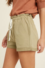 Brooke Cinched Waist Shorts in Soft Olive