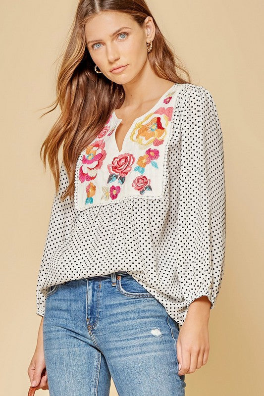 Bryn Polka Dot and Floral Top in Ivory