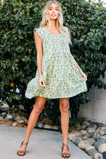 Kendra Tiered Dress in Sage
