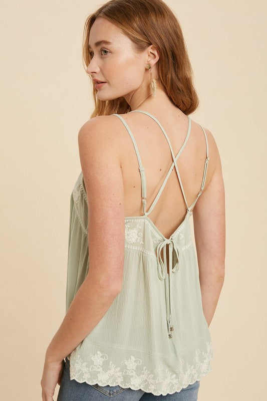 Finley Embroidered Camisole in Mint