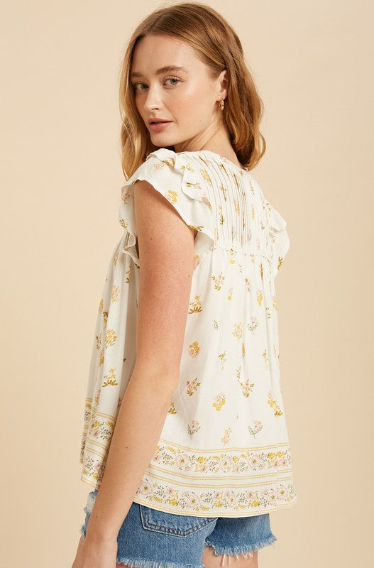 Adele Floral Top in Golden