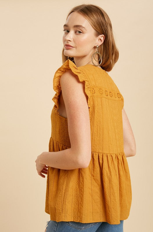 Allison Eyelet Top in Goldenrod