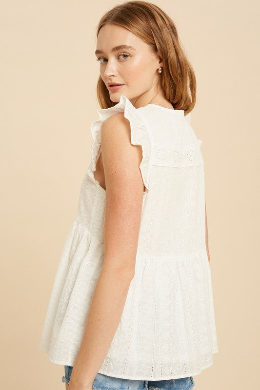 Allison Eyelet Top in Off White