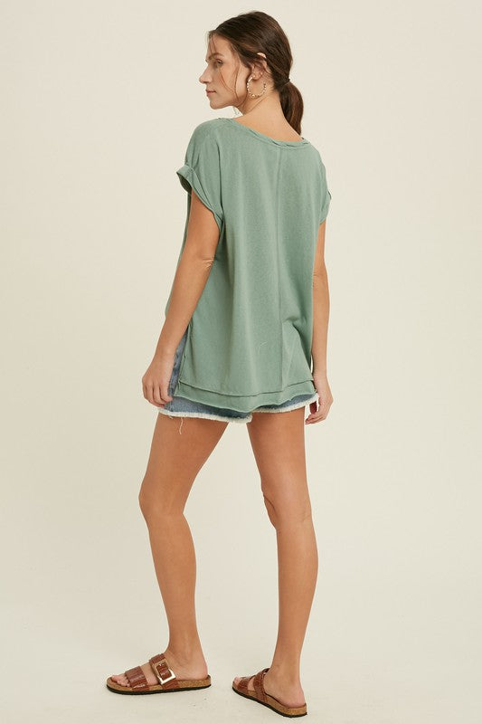 Avery Twisted Band Top in Seafoam
