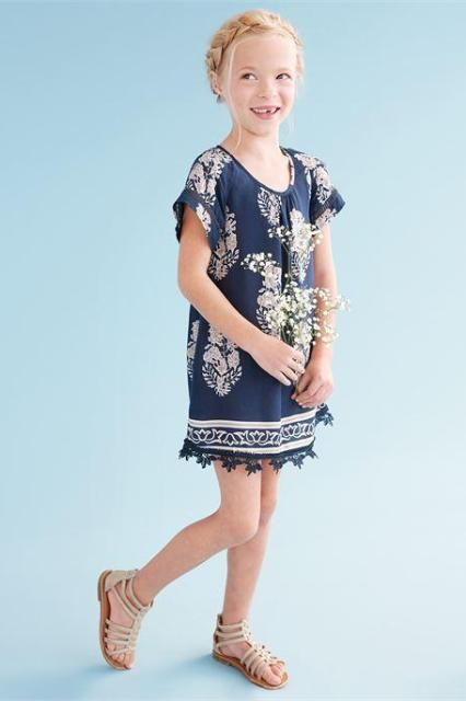 f44d2ca9c0 Girls Jasmine Tropical Print Dress in Navy – Spruced Boutique