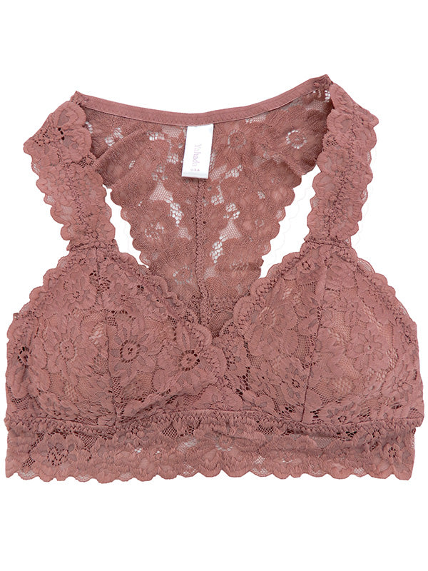 29df719a5c1d6 Lace Bralette with Removable Pads and Racer Back in Mauve ...