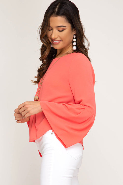 Delilah Bell Sleeve Top in Coral