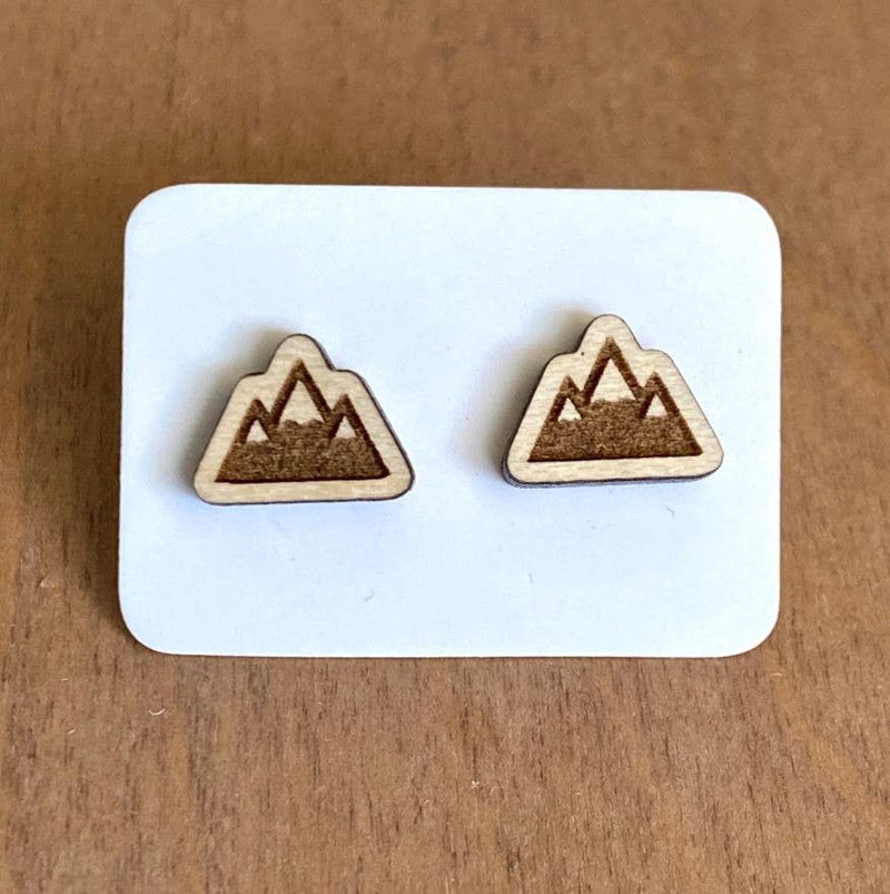 Maple Wood Engraved Triple Mountain Studs