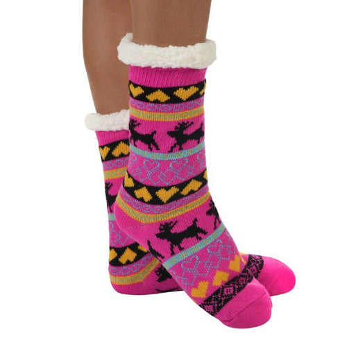 Snoozies!® Sherpa Lined Knit Socks in Nordic Hot Pink