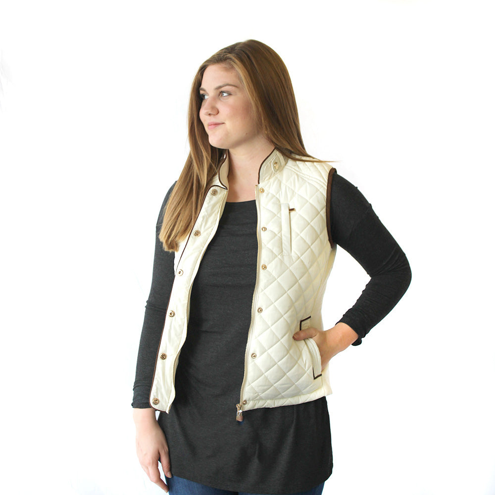 Quilted Riding Vest in Winter White