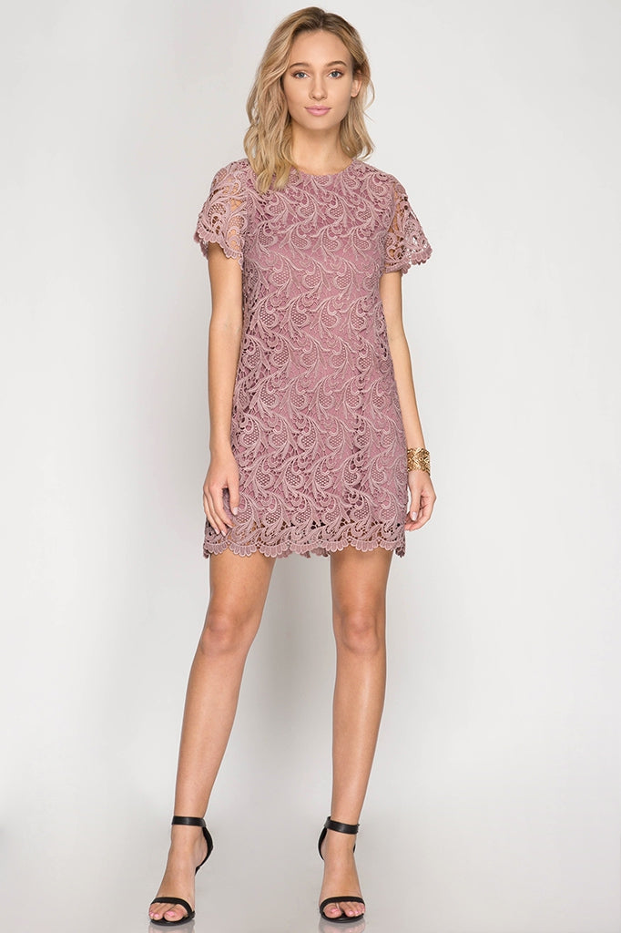 Cassie Cap Sleeve Lace Dress in Dusty Rose