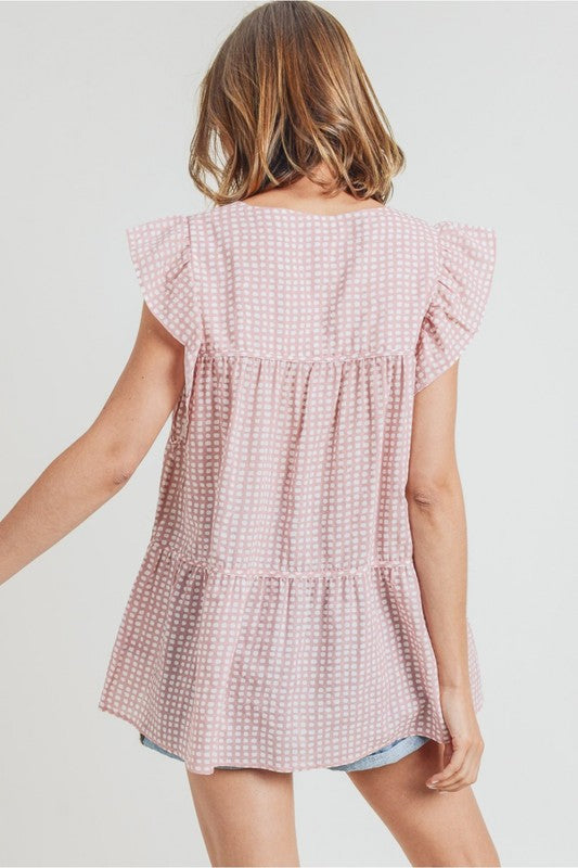 Gina Tiered Top in Rose