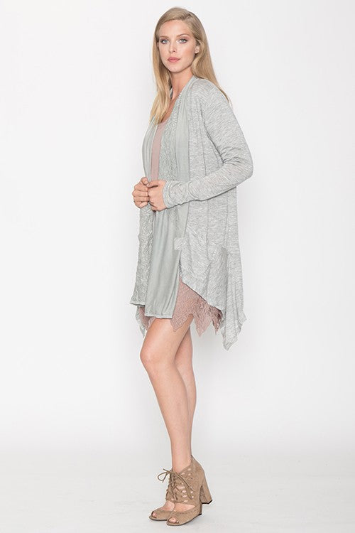 Eleanor Cardigan with Front Suede Drape in Gray