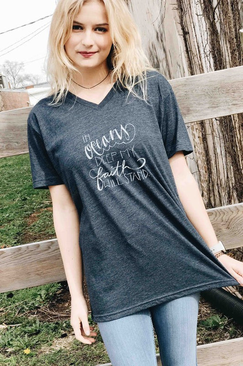 """In Oceans Deep My Faith Will Stand"" Tee in Navy"