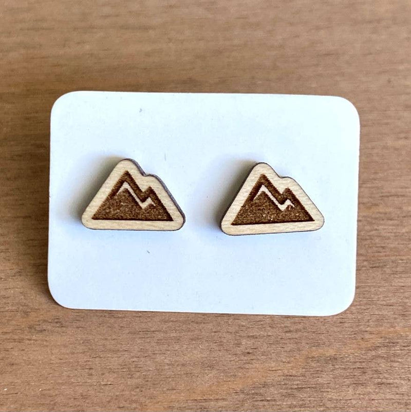 Maple Wood Engraved Summer Mountain Studs