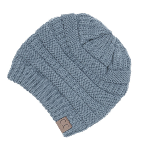 CC Beanie Solid Ribbed Hat in Denim