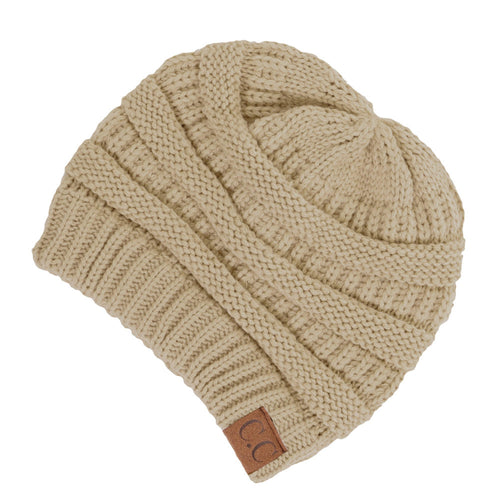 CC Beanie Solid Ribbed Hat in New Beige